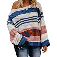 ZESICA Women's Long Sleeve Crew Neck Color Block Striped Oversized Casual Knitted Pullover Sweater Tops