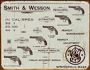 "Desperate Enterprises Smith & Wesson Revolvers Tin Sign, 16"" W x 12.5"" H"