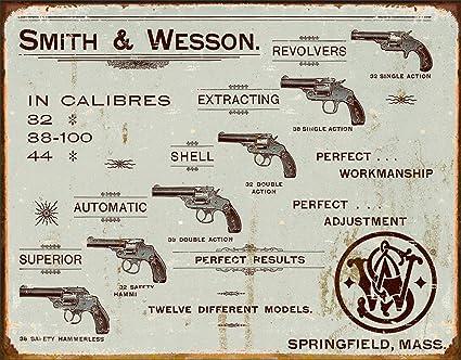 Desperate Enterprises Smith & Wesson Revolvers Tin Sign, 16