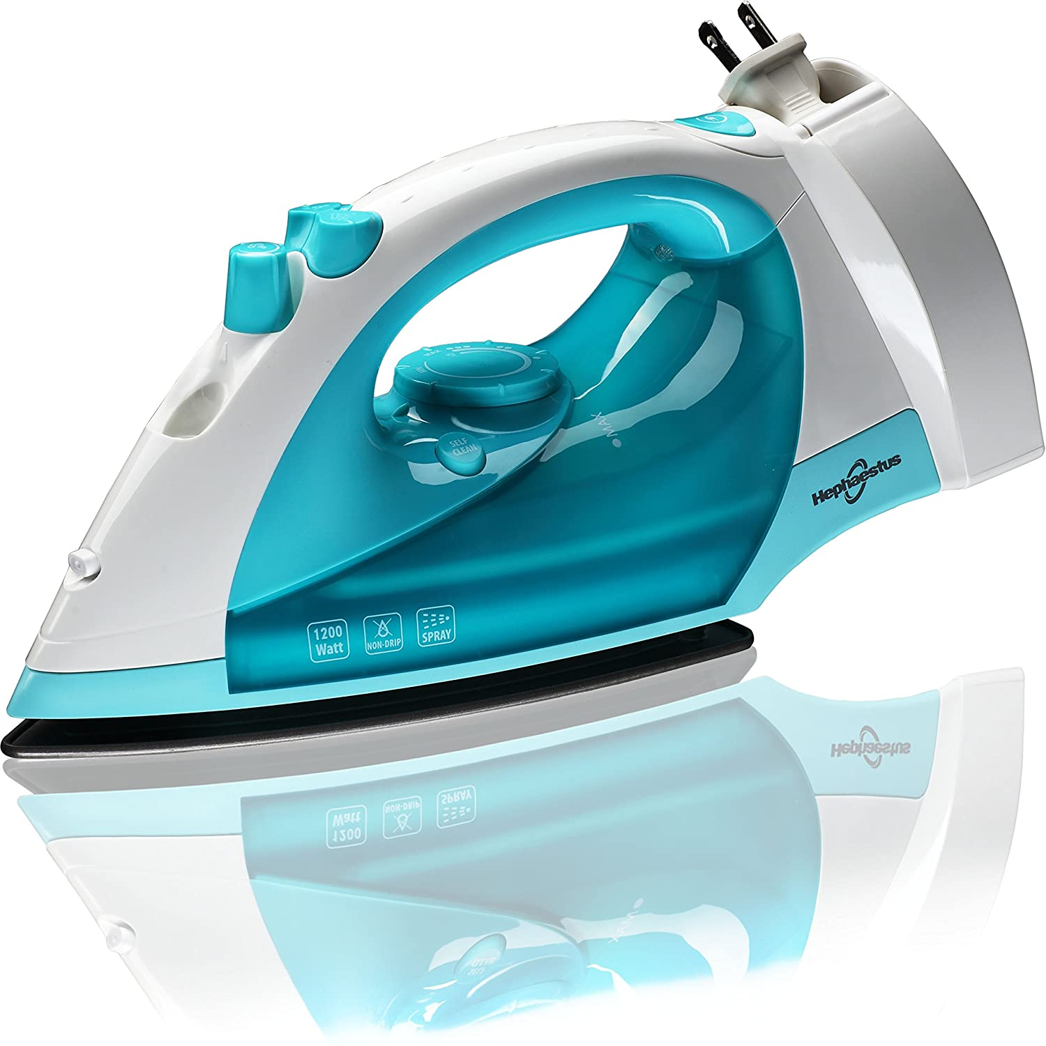 Steam Iron 1200 Watt Nonstick Teflon Soleplate Variable Steam Spray Anti-Drip Self-Cleaning System with 8 Feet Retractable Cord Generic