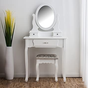 CherryTree Furniture Dressing Table 3 Drawer Makeup Dresser Set With Stool  Oval Mirror, White