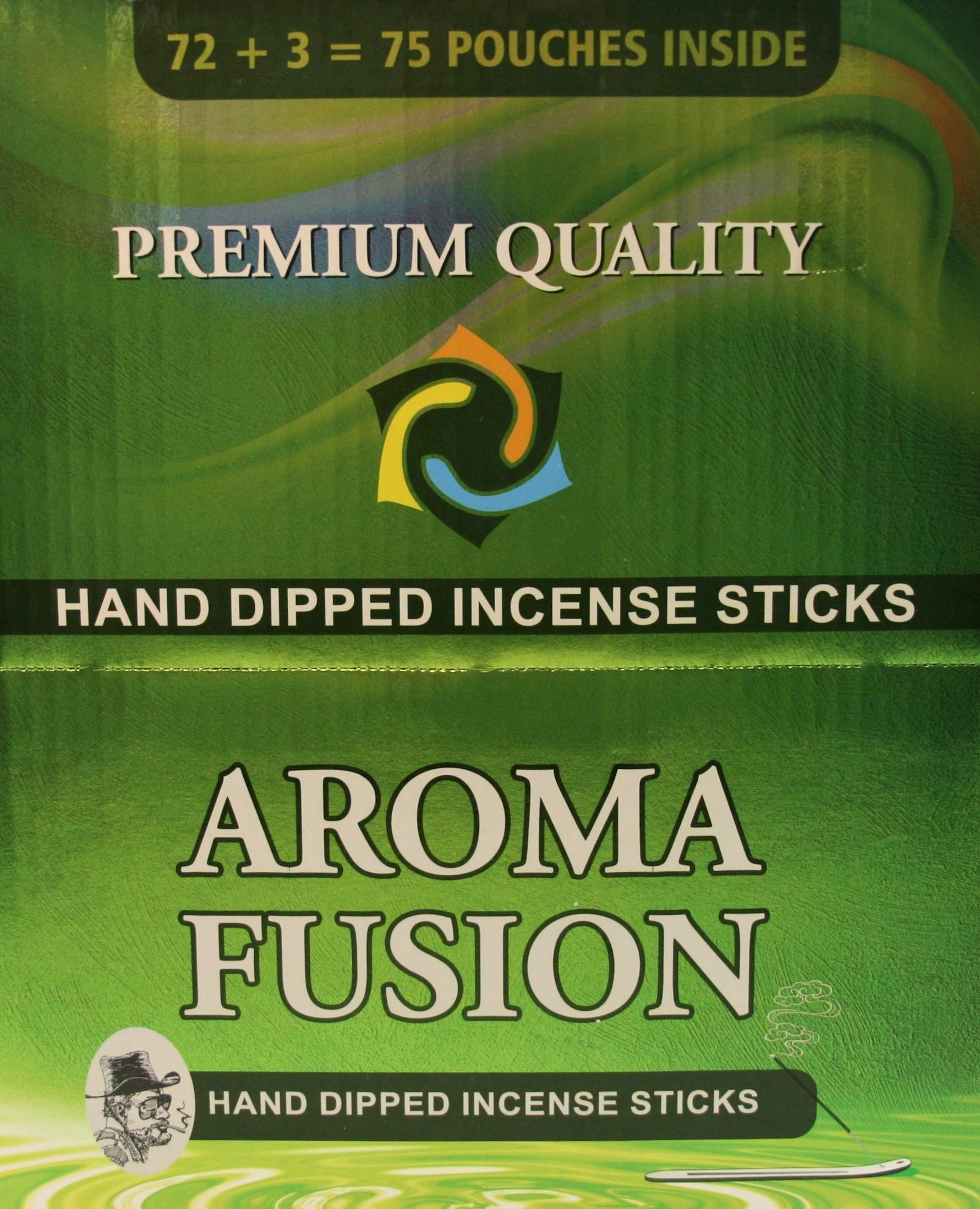 Aroma Fusion Premium Quality Hand-Dipped Incense Sticks | 75 Variety Pouches | 1,125 Total Sticks | 20 Different Scents | Incense Display Case by Aroma Fusion