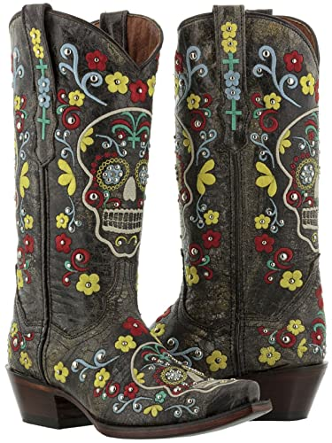 c07936028f7 Cowboy Professional - Women's Black Skull Distressed Leather Cowboy Boots