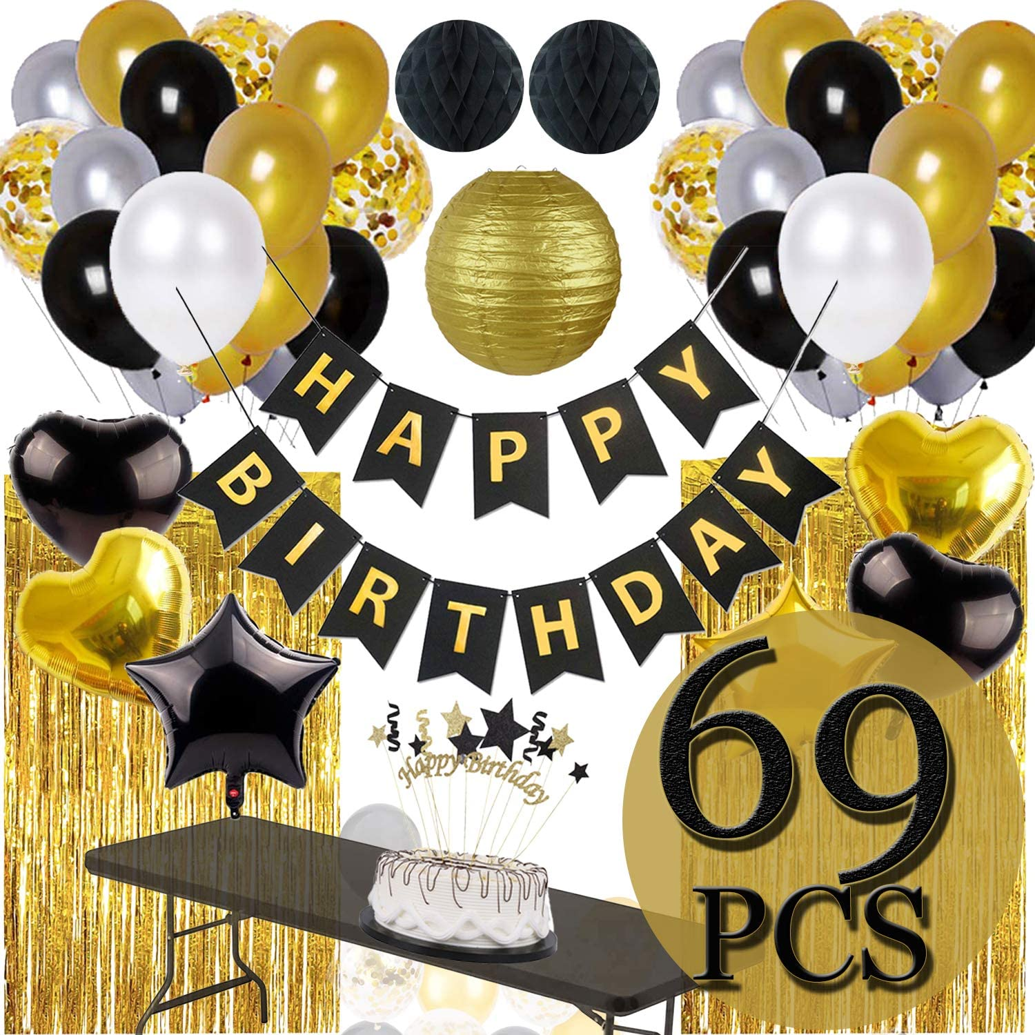 Black And Gold Birthday Party Decorations Happy Banner Star Heart Balloon 90 Pcs