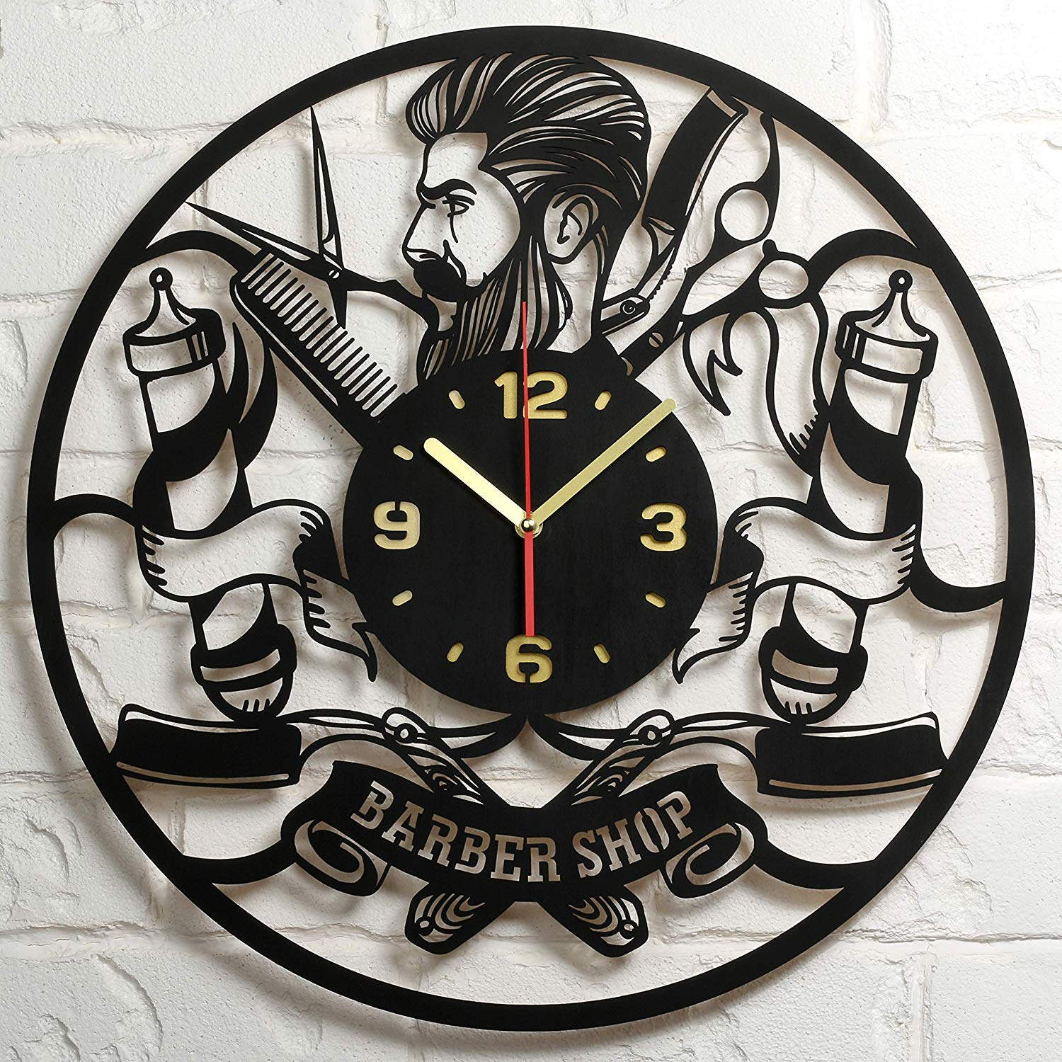 Barbershop Clock Large Wood Wall Clock 20 Inch Hairdresser Barber Clock Hair Stylist Hair Salon Gifts for Women Men Barbers Retro Vintage Old Barber Shop Wall Decor Art Decorations Clock Gift Black