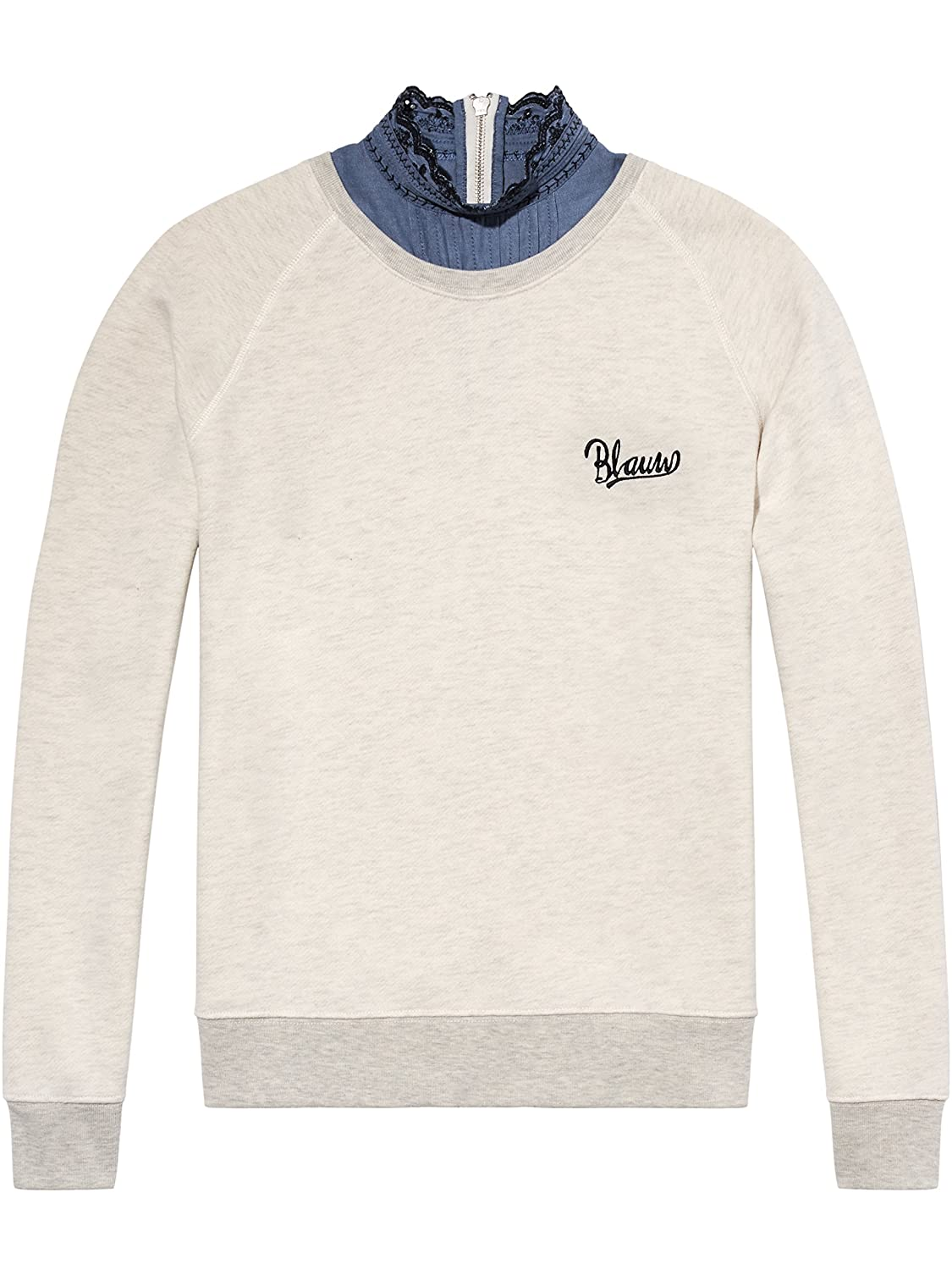 TALLA L. Scotch & Soda Super Soft Sweat with Woven Collar Sudadera para Mujer