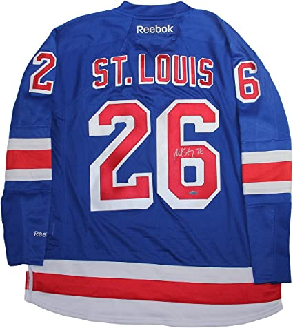 """ad5643fa777 Image Unavailable. Image not available for. Color: Martin St. Louis Signed  New York Rangers Blue Premier Jersey w/Alternate Captain"""""""