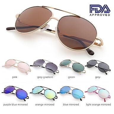 dd726dafda40 Amazon.com: Aviator Sunglasses for Kids Girls Boys Children, Gold Metal  Frame, Brown Lens, Lightweight: Clothing