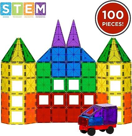 BCP 162-Piece Magnetic Building Block Tile Toy Set w// Excavator Dump Truck