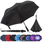 Repel Umbrella Inverted Umbrella, Upside Down Reverse Umbrella with 2 Layered Teflon Canopy and Reinforced Fiberglass…