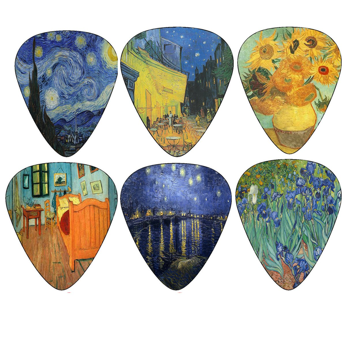 Vincent Van Gogh Guitar Picks - Celluloid Medium 12 Pack - Starry Night Sunflowers Cafe by Creanoso - Best Stocking Stuffer Gifts for Guitarist - Limited Time Deal 4334252962