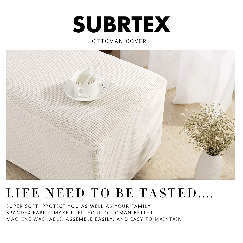 Oversize,Black subrtex Stretch Storage Ottoman Slipcover Spandex Elastic Rectangle Footstool Sofa Cover for Living Room
