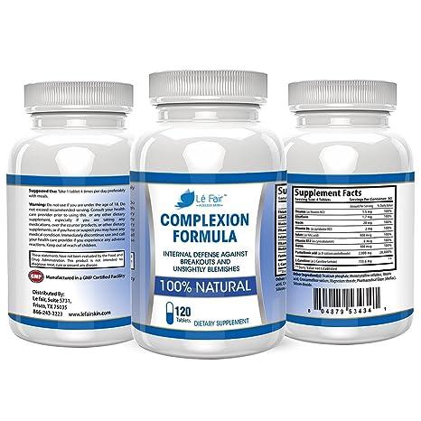 Pastillas para el acné con ácido pantoténico y vitamina B5 - Fórmula para el cutis Lé Fair - Suplemento natural para el acné y los puntos negros para el ...