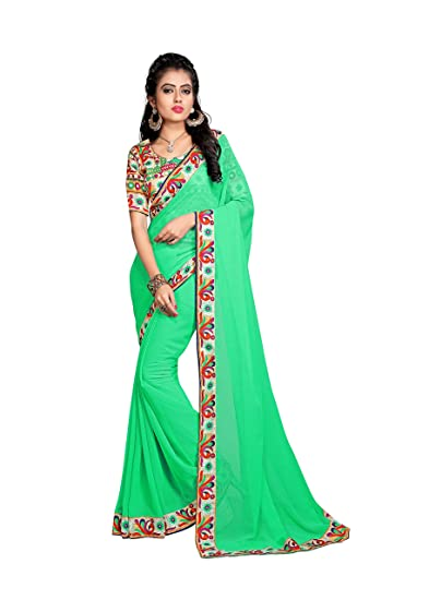 2bf36e1a95219d Colour: Oomph! Women's Georgette Sarees Fancy Georgette Sarees/plain  Georgette Sarees with printed border -