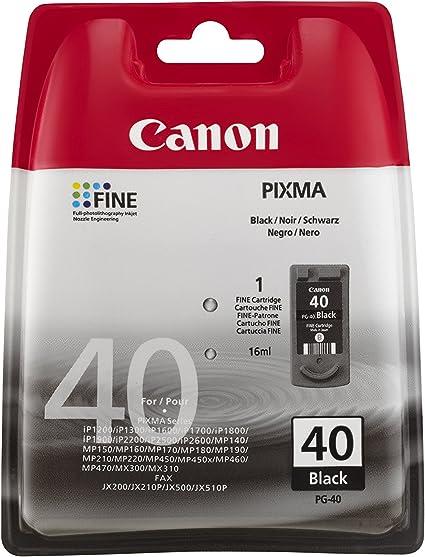 Canon PG-40 Cartucho de tinta original Negro para Impresora de Inyeccion de tinta Pixma MP140,150,160,170,180,190,210,220,450,450x,460,470-iP1200,1300,1600,1700,1800,1900,2200,2500,2600: Amazon.es: Oficina y papelería