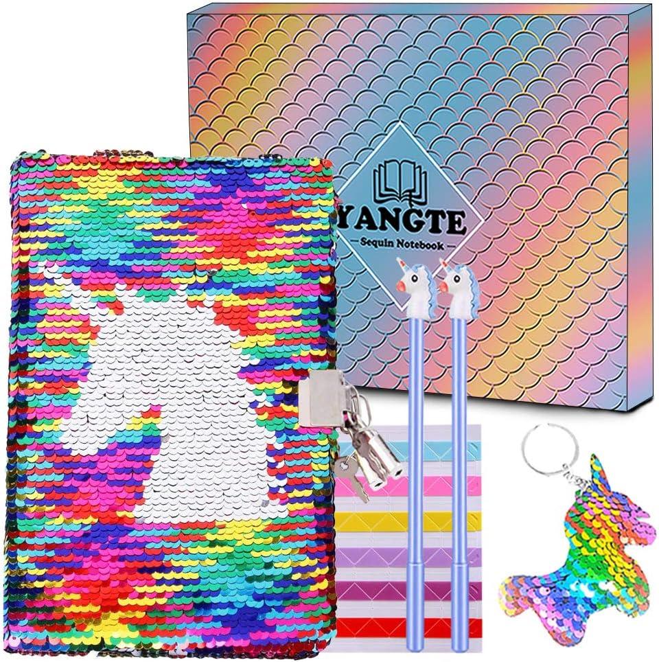 Juego de bolígrafos de gel con diseño de unicornio para cuaderno - Diario secreto con cerradura y lentejuelas reversibles, para escribir libros, festivales, regalo de cumpleaños para niña