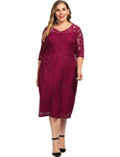 b0e1ca593c Chicwe Women's Plus Size Lined Floral Lace Dress - Knee Length ...