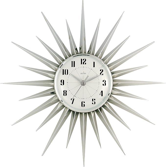 Acctim 21767 Stella Starburst Wall Clock Silver 43 Cm L X 43 Cm W Amazon Co Uk Kitchen Home