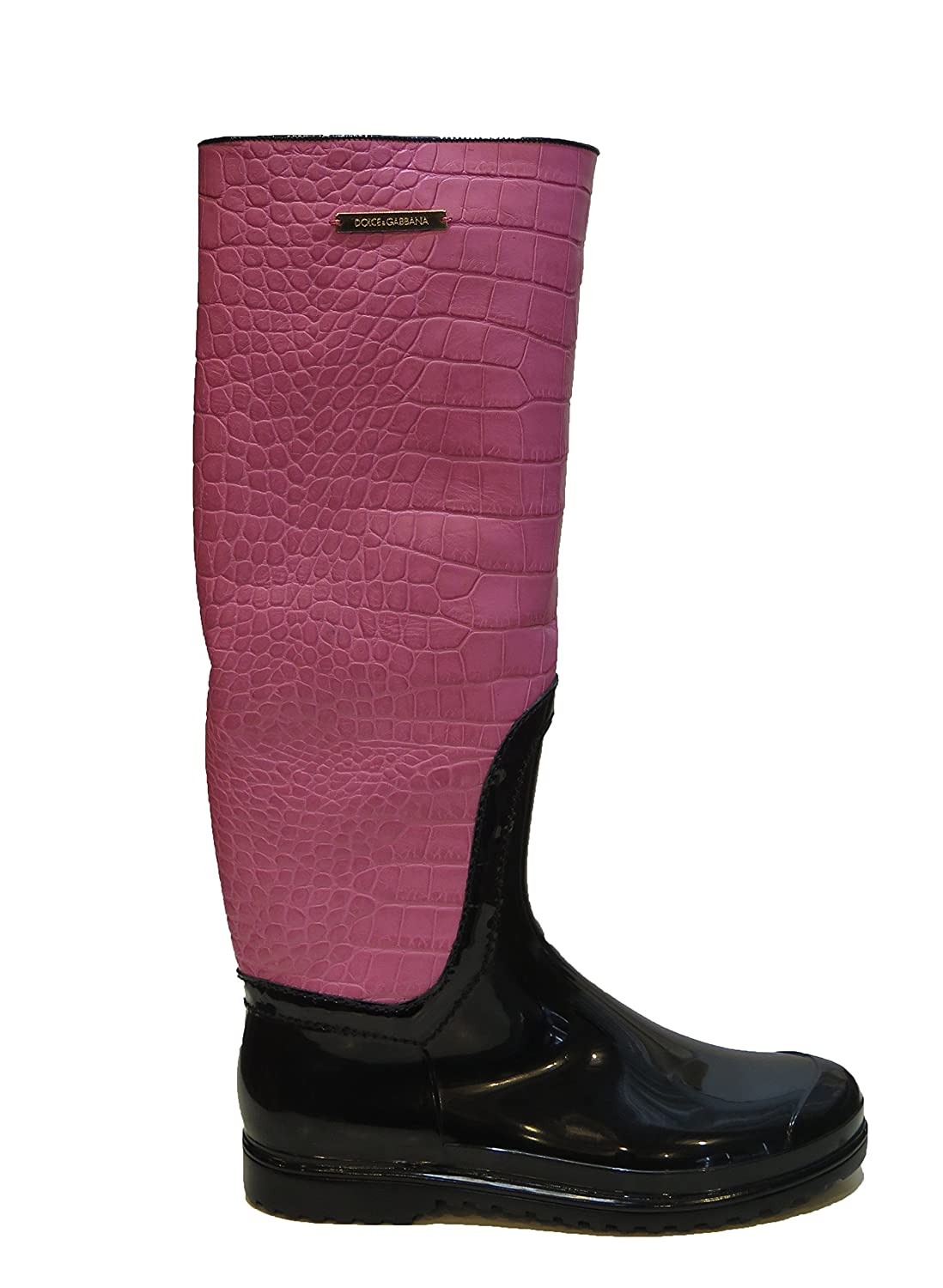 Dolce & Gabbana Italy Woman's Pink Crocodile Leather Rubber Rainboots Boots