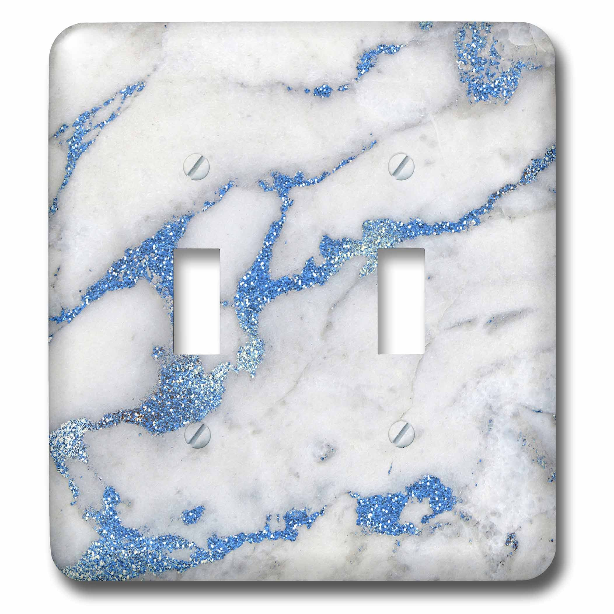 3dRose Uta Naumann Faux Glitter Pattern - Image of Luxury and Trendy Blue Metal Glitter Veins Gray Marble - Light Switch Covers - double toggle switch (lsp_275088_2) by 3dRose (Image #1)