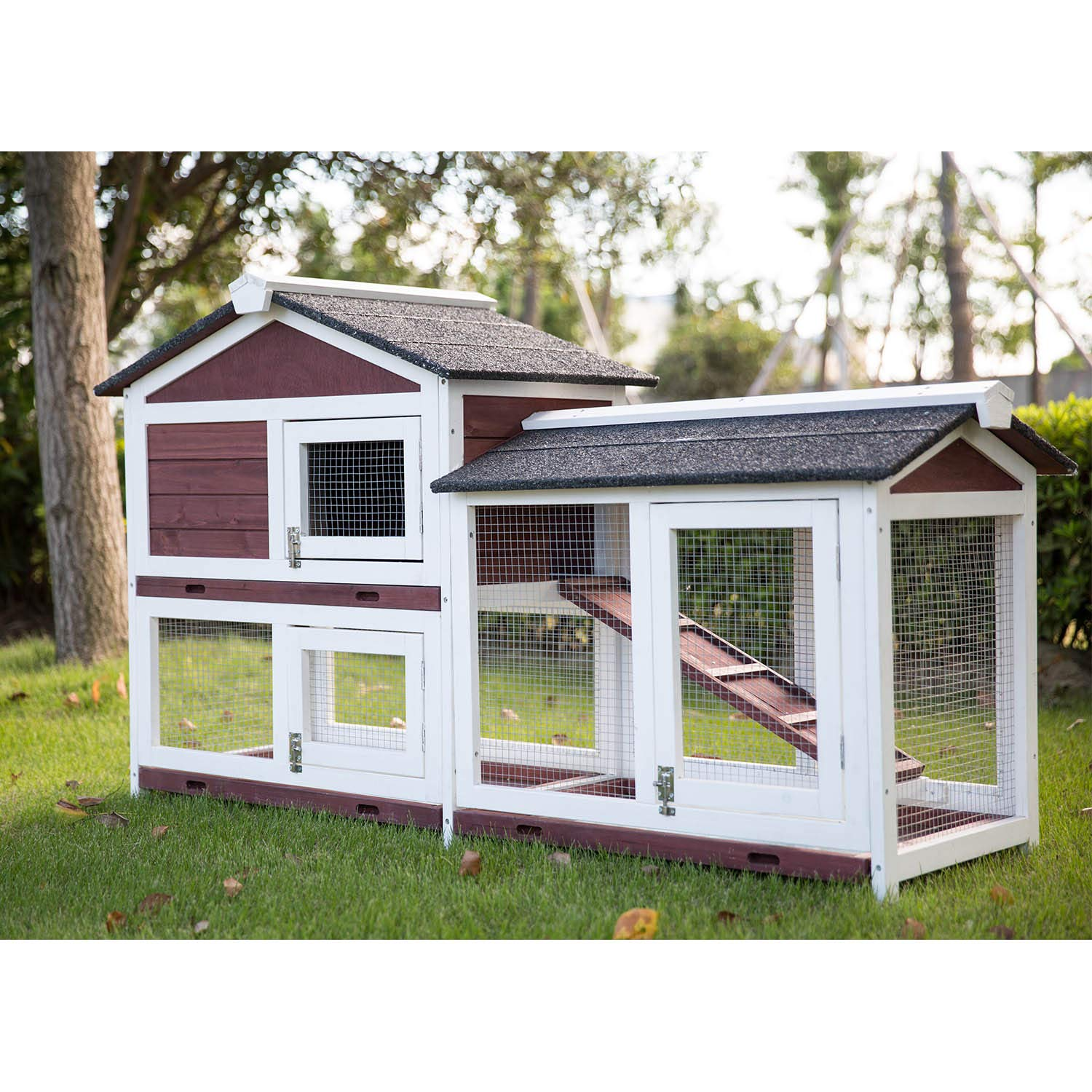 Kinbor Outdoor 60'' Wooden Bunny Hutch Hen Duck Coop Large House Removable Tray & Ramp & Run Area by Kinbor