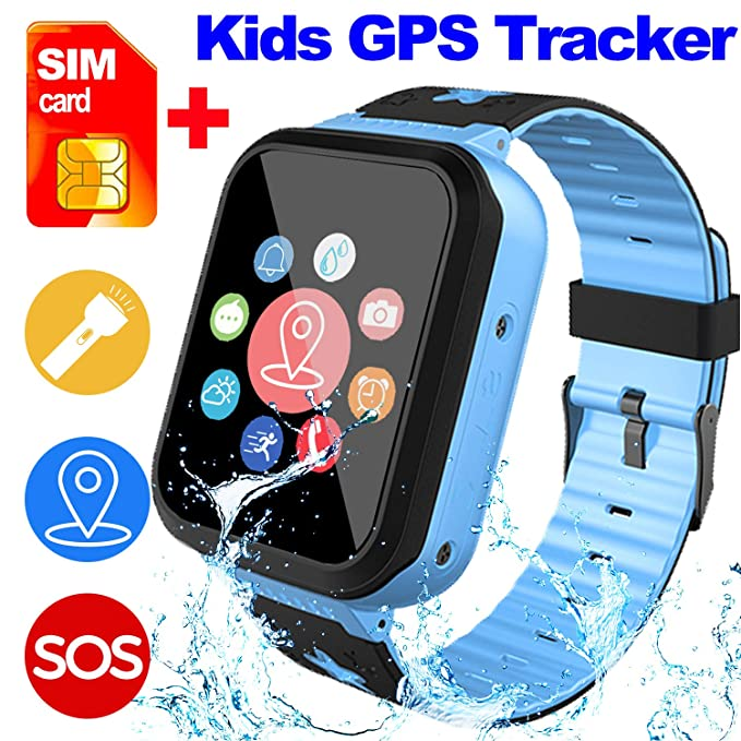 [SIM Card Included] Kids Smart Watch Phone for Girls Boys - IP68 Waterproof GPS Tracker Locator Touch Games SOS Outdoor Digital Wrist Cellphone Watch ...