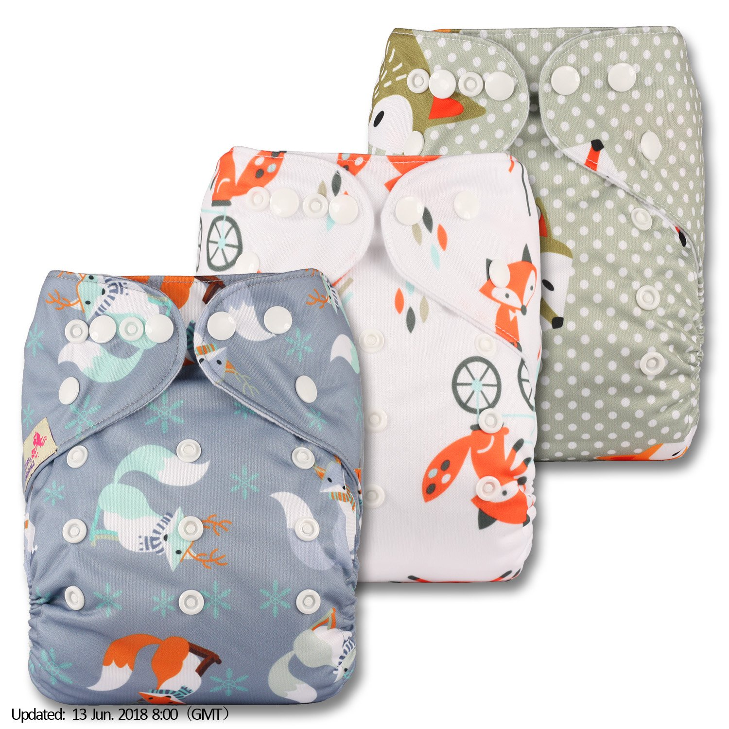 with 6 Microfibre Inserts Reusable Pocket Cloth Nappy Littles /& Bloomz Patterns 309 Fastener: Popper Set of 3