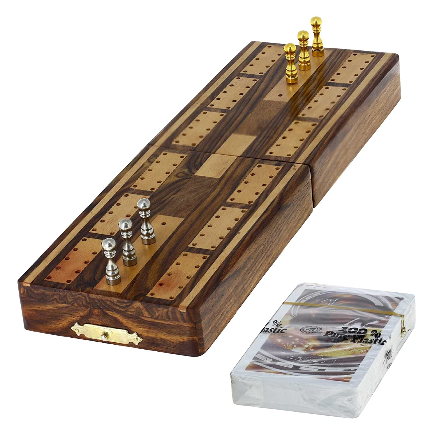 Crib boards for sale uk - Amazon Com Game Cribbage Boards And Pegs Set With Storage By Shalinindia Sports Outdoors