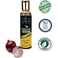 Khadi Mauri Herbal Onion Oil - Anti Hairfall, Anti Dandruff, Promotes Hair Growth & Thicker Hair -120 ml - Enriched with Red Onion, Argan, Jojoba, Amla, Shikakai, Bhringraj, Tea Tree, Neem, Castor Oil - NO SULFATE, NO PARABEN, NO MINERAL OIL