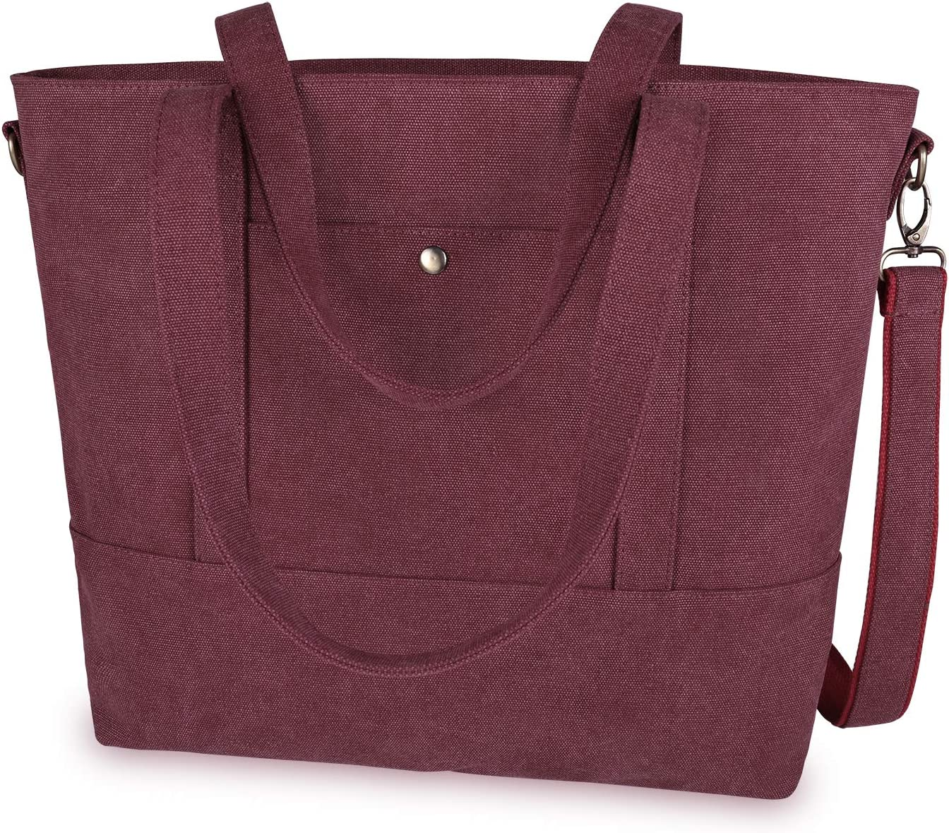 IDAILU Canvas Laptop Tote Bag for Women Fits 13 14 Inch Computer Large Capacity Work Travel Shoulder Handbag with Padding (Burgundy)