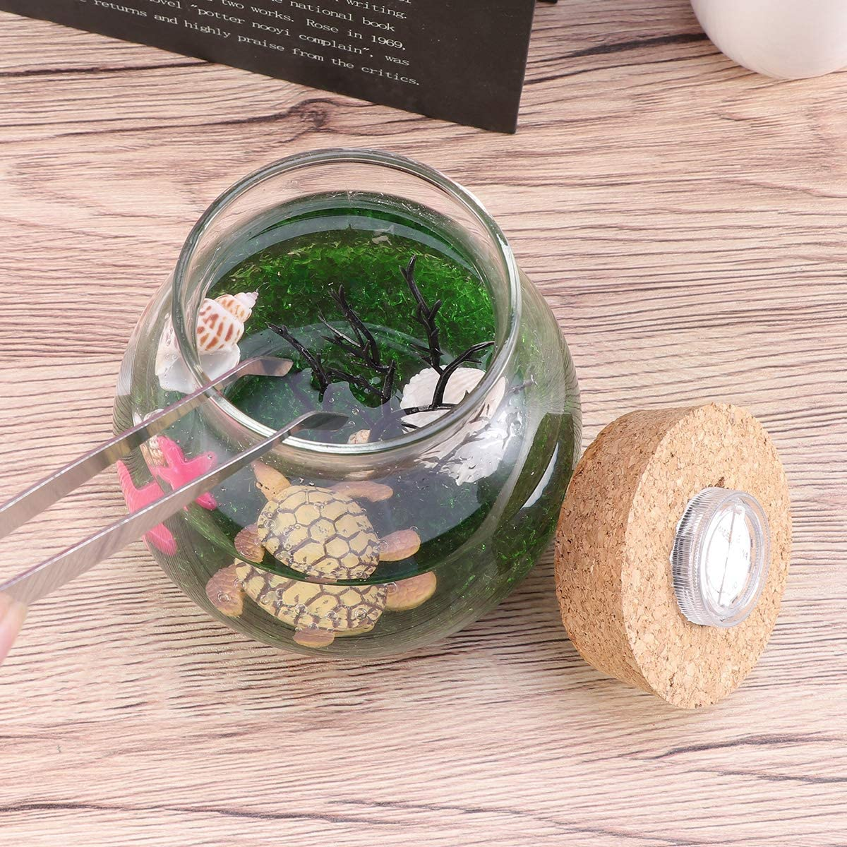 Balacoo Mini Acquario Bottiglia Serbatoio di Pesce Micro Paesaggio Creativo Eco LED Night Night Lights Decorazioni da tavola Regali Tartaruga S