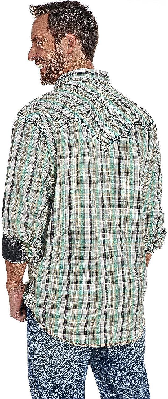 Cb71201 Cowboy Up Mens Vintage Wash Plaid Long Sleeve Western Shirt