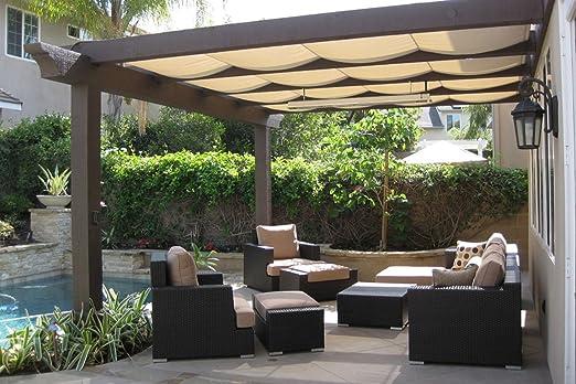 Patio sombra tela para invernadero, estanque cubierta, Pergola, lado, patio valla 4 x 8FT Beige: Amazon.es: Jardín