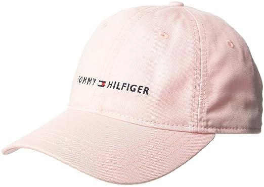 28fe3d9e1 Tommy Hilfiger Men's Dad Hat Logo Cap Baseball, Crystal Rose, One Size