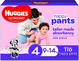 Huggies Ultra Dry Nappy Pants, Girl, Size 4 (9-14kg), 116 Count, Packaging May Vary, Pack of 2