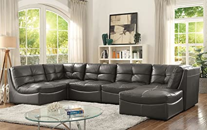 Amazon.com: Esofastore Living Room Furniture 6pc Modular Sectional ...