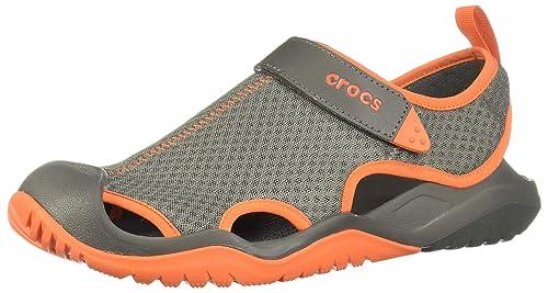 a85364e8dfc0a crocs Men s Swiftwater Mesh Deck Sandal M Slate Grey Tangerine M7  (205289-0EK