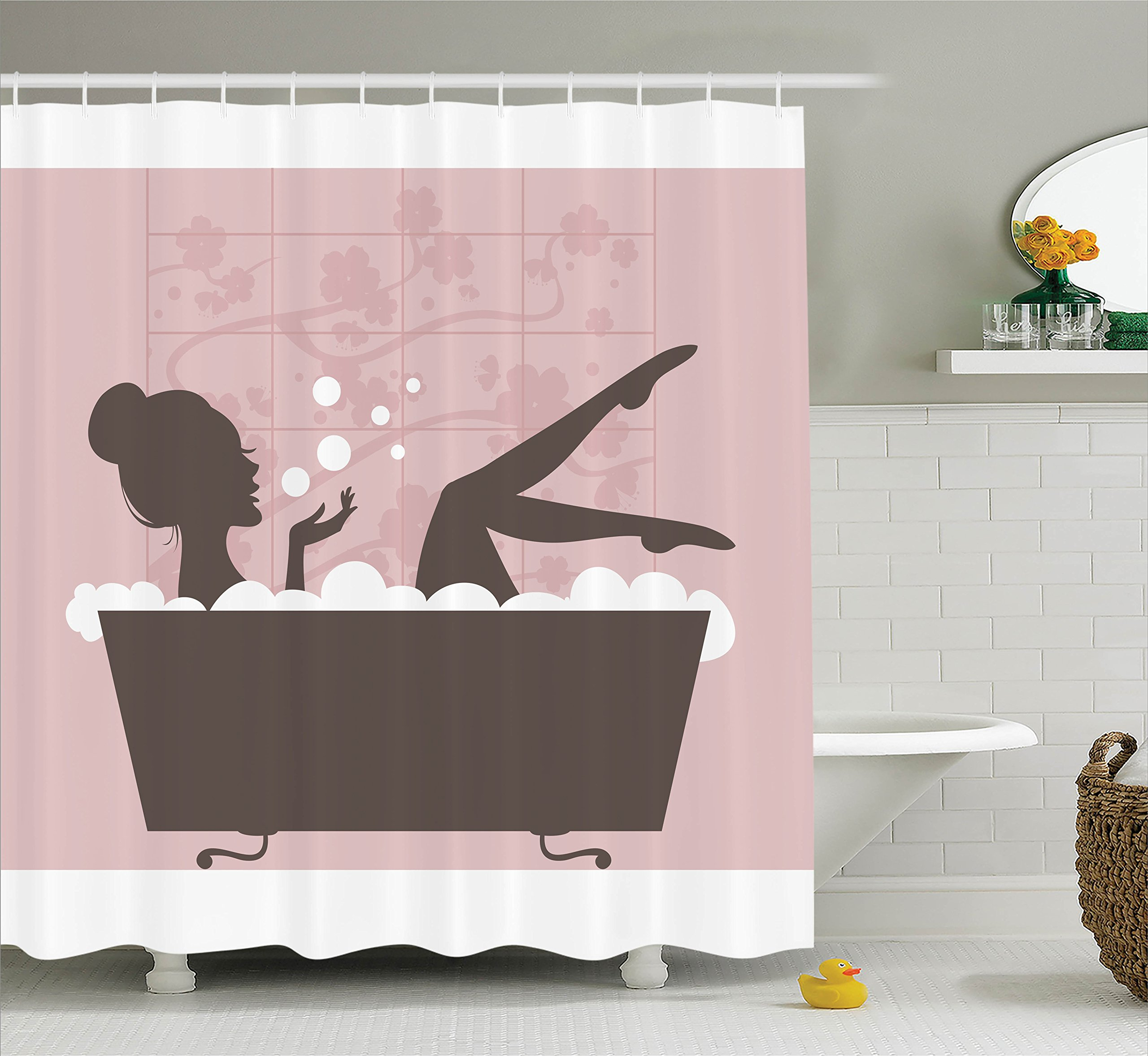 Ambesonne Teen Girl Women Decor, Beautiful Woman in Bath Tub Spa Relaxation Treatment Concept Vintage Style, Fabric Bathroom Shower Curtain Set with Hooks, Powder Pink Dark Taupe