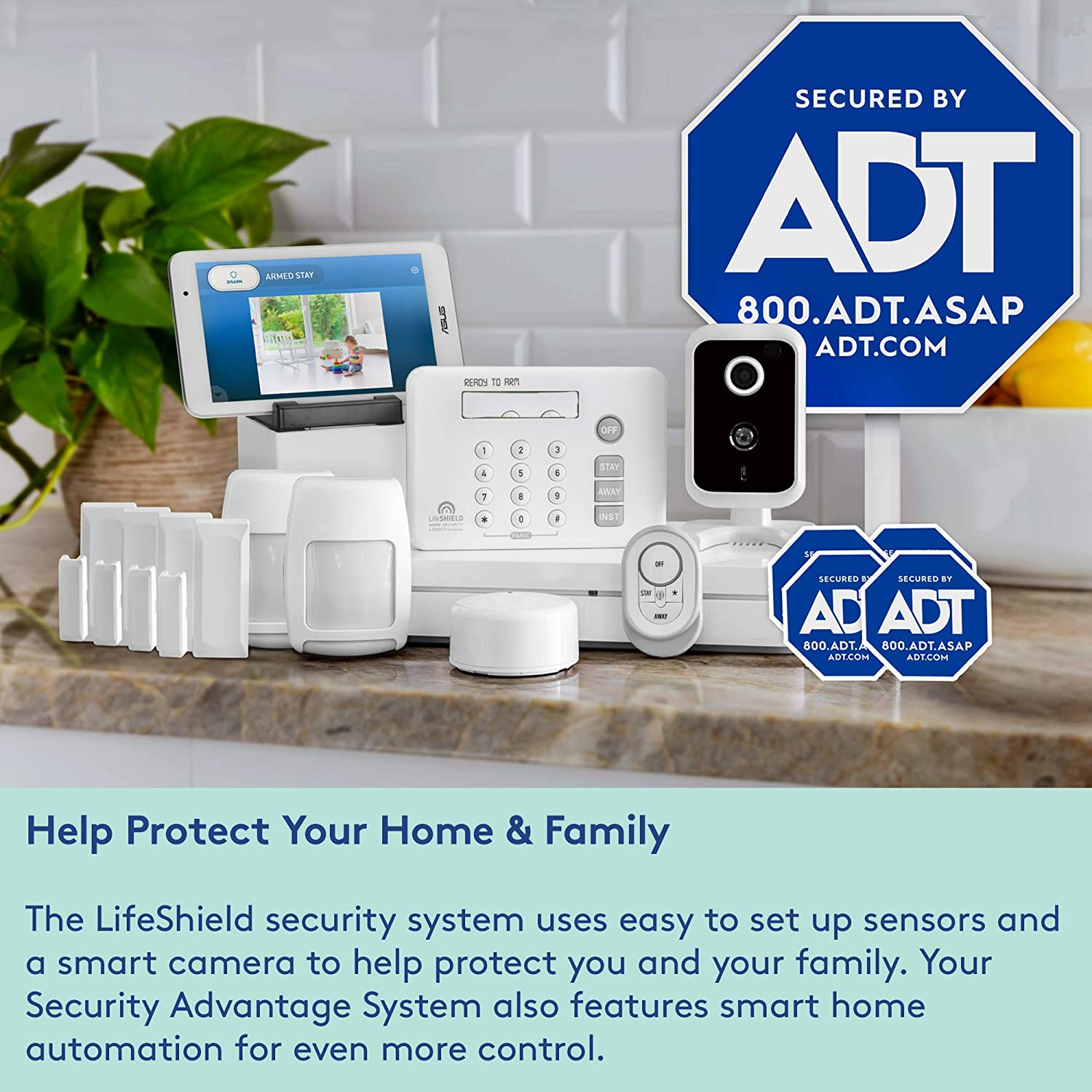 LifeShield, an ADT Company - 14-Piece Easy, DIY Smart Home Security System  - Optional 24/7 Monitoring - Smart Camera - No Contract - Wi-Fi Enabled -