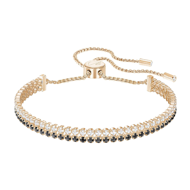 e8690422f6662 Swarovski Crystal Black Rose Gold-Plated Subtle Double Bolo Bracelet