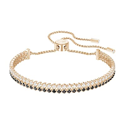 Amazon.com  Swarovski Crystal Black Rose Gold-Plated Subtle Double ... bc02bd635442