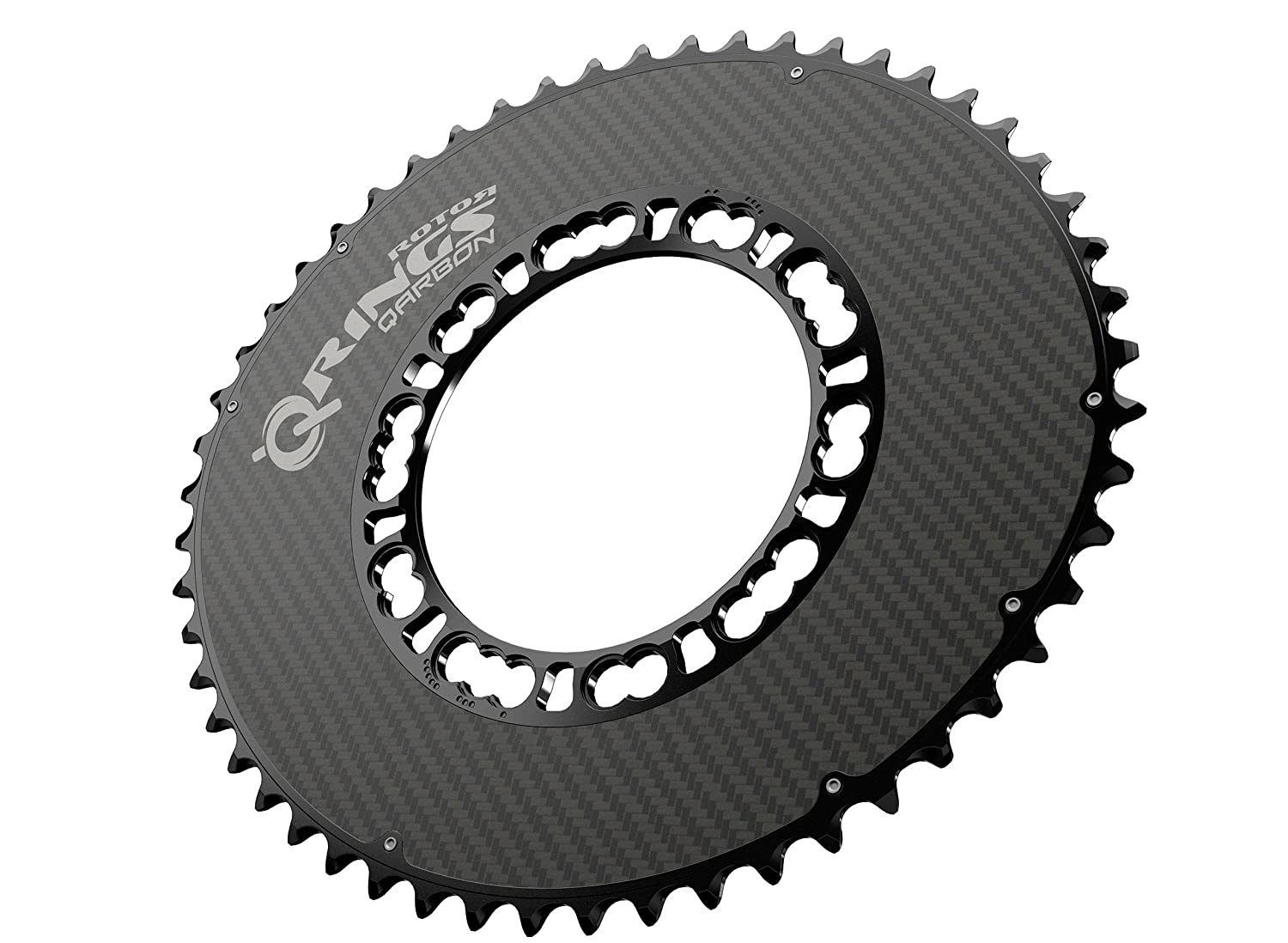 ROTOR(ローター) Q-Rings Qarbon AERO Road Carbon Chainring set Compact 110PCD [Outer/Inner: 53-50T / 36-34T] [並行輸入品] B06Y1H28NY 52T-Outer