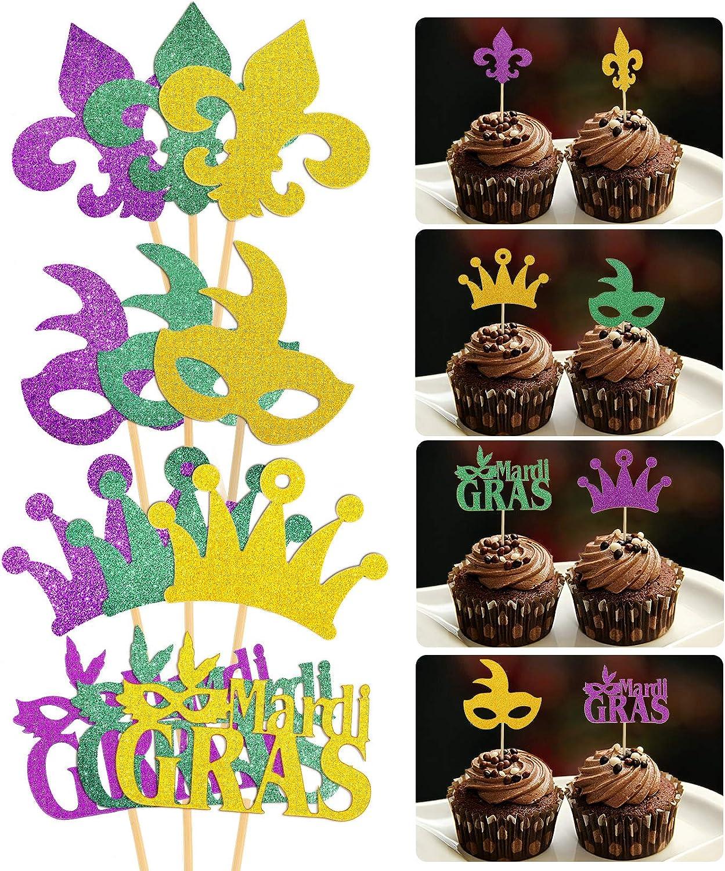 48 Pieces Glitter Mardi Gras Cupcake ToppersMasquerade Face Covering Cupcake Toppers for Masquerade Mardi Gras Party Birthday Party Decorations