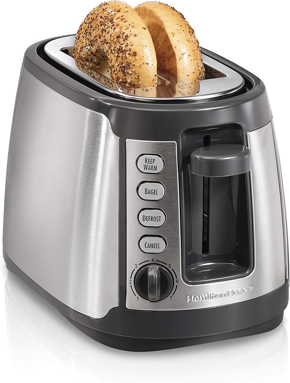 Hamilton Beach 22816 Slice Toaster with Keep Warm, Bagel, Defrost Settings, Silver with Gray (Renewed)