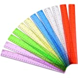 Outus Plastic Ruler Transparent Ruler School Students Ruler Office Measuring Ruler 2 Scale (12 Inch and 30 cm), 6 Colors, 12 Pieces