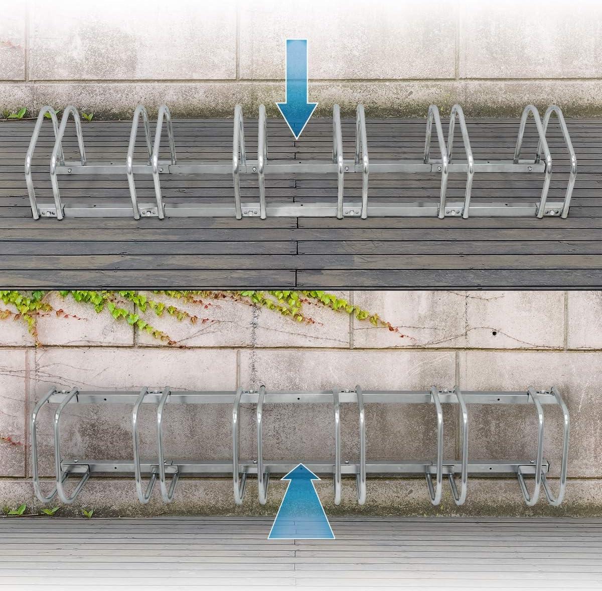 Parking /à v/élos ECD Germany R/âtelier pour 2 V/élos Support pour v/élos 43x32x27 cm Stationament au Sol et au Mur Supports Multiples Argent/é en Acier Galvanis/é
