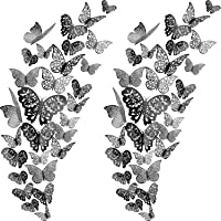 72 Pieces 3D Butterfly Wall Decals Sticker Wall Decal Decor Art Decorations Sticker Set 3 Sizes for Room Home Nursery Classroom Offices Kids Girl Boy Bedroom Bathroom Living Room Decor (Black)