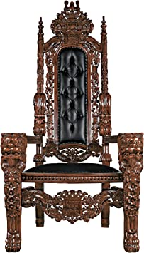 Design Toscano The The Lord Raffles Leather Lion Throne Chair Walnut Furniture Decor