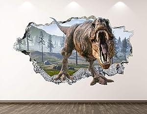 "West Mountain Wild Dinosaur Wall Decal Art Decor 3D Smashed T-Rex Sticker Poster Kids Room Mural Custom Gift BL380 (22"" W x 14"" H)"
