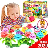 FunzBo Flower Garden Building STEM Toys - Gardening Pretend Gift for Girls Kids Toy - Educational Activity for Preschool Children Age 3 4 5 6 7 Year Old - Stacking Game for Toddlers playset (Green)